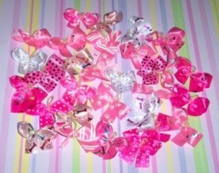 Dog Grooming Bows 30 all Pink Print Dog Bows Yorkie Poodle Shih tzu