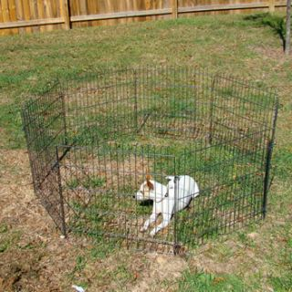 24 8 Panel Pet Playpen Dog Cat Rabbit Exercise Fence Yard Kennel