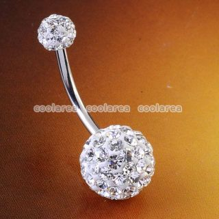 Czech Crystal Double Ball Navel Ring Belly Button Body Piercing