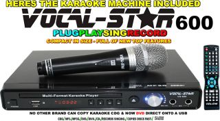 KIDS VOCAL STAR 600 CDG DVD USB KARAOKE MACHINE PLAYER MICROPHONE