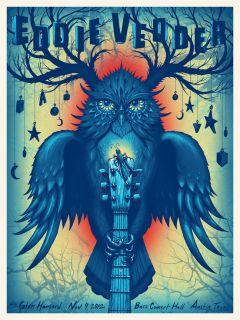 Eddie Vedder Poster w Glen Hansard Austin TX 2012 Jeff Soto Pearl Jam