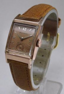 Awesome 1945 Bulova Douglas 14k Rose GF 21J Mens Watch