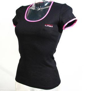 Dolce Gabbana Neonlight Womens T Shirt D G Black Pink