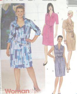 Womens Shirt Dress Pattern 3511 Easy Bust Waist Darts