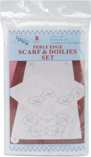 Starburst of Hearts Stamped Dresser Scarf Doilies Perle Edge 3 Pkg 448