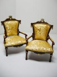 Dollhouse Famous Maker Furniture Victorian Arm Chairs