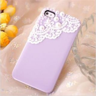 New Purple Cute Lace Deco Bling Pearl Battery Back Case Cover for