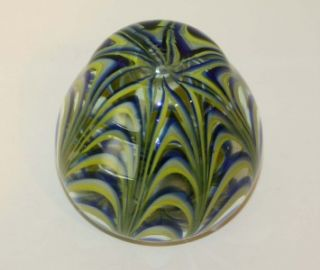 Signed Dominick Labino Blue Chartreuse Art Glass Vase