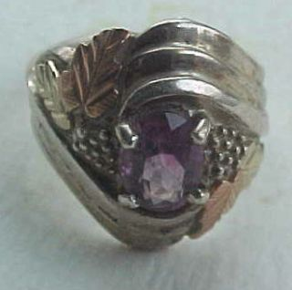 BEAUTIFUL VINTAGE STERLING SILVER GOLD PLATED AMETHYST RING SIZE 8 0 2