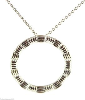 New Roberto Coin 18K White Gold Ridged Circle Pendant Necklace 16 18