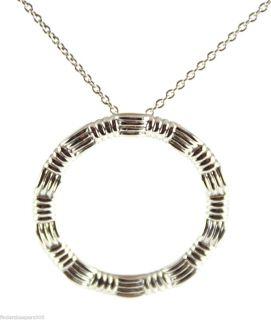 New Roberto Coin 18K White Gold Ridged Circle Pendant Necklace 16 18