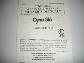 Dyna Glo Owners Manual Model RMC 11C 7 Kerosene Heater
