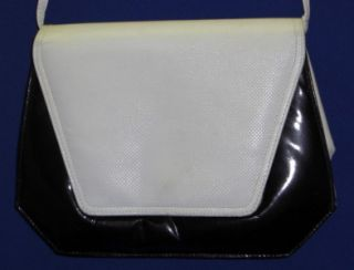 Vtg Jay Herbert Purse Clutch Bag Black White Quilted