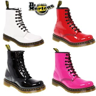 Dr Martens Classic 8 Eye 1460 Patent Leather Ankle Lace Up Shoes Boots