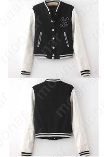 Plain Black White Women Girls B Baseball College Varsity Jacket Coat s