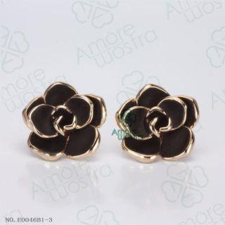 18K Gold Plated Ear Pin Fashion Black Rose Flower Studs Earring