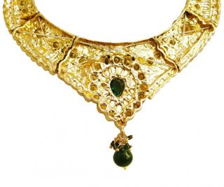 Indian Wedding Gold Tone Necklace Earring Tikka Set Green Stone