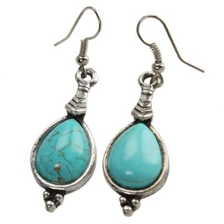 Fashion Jewelry Tibetan Silver Turquoise Waterdrop Chandelier Dangle