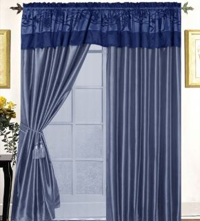auction for 8 pc navy blue satin curtain set includes 2 panels 57 wide
