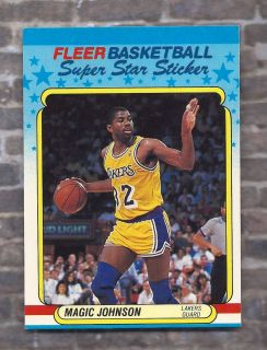 EARVIN MAGIC JOHNSON 1988 Fleer Super Star Stickers Los Angeles Lakers