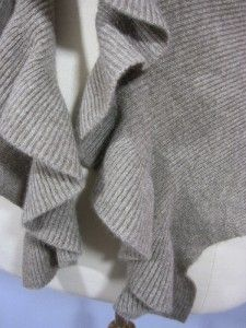 GARNET HILL NWT Eco Cashmere Ribbed Ruffled Open Cardigan BRANCH