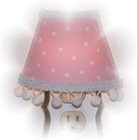 New White Polka Dots Pink Night Light Pom Poms Girls Room Dorm Decor