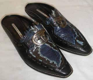Womens Size 7 M Donald J Pliner Iguana Western Mules Black Blue Slides