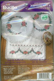 Hearts Flowers Stamped Dresser Scarf Doily Embroidery Set NIP 653