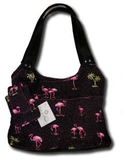 Donna Sharp Black Pink Flamingo Roomy Bag Matching Cell Phone Case New