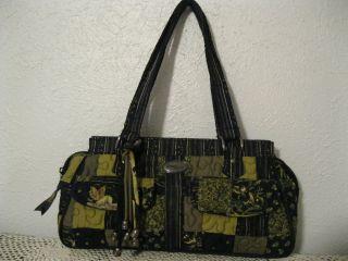 Donna Sharp Megan Handbag Purse EXC A++ Black Green Brown Stars Floral
