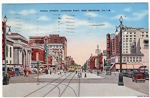 Vintage 1930s 1950s Postcard Canal Street East New Orleans LA 20
