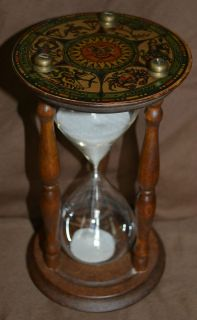 NICE ANTIQUE SAND HOURGLASS EARLY ZODIAC SIGNS FINE OLD GLASS TIMER