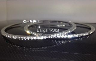 Large 3 5 inch Silver Swarovski Crystal Bling Diamante Hoop Earrings