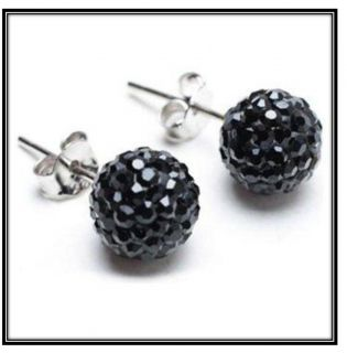 Black Bracelet Necklace & Earring Gift Set Shamballa Swarovski Crystal