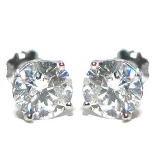 Carat Brilliant Round Cut Diamond Stud Earrings 14kt White Gold SI3
