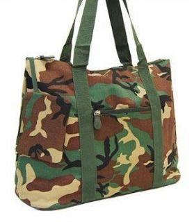 ARMY Camo Camouflage Green HUGE 21 Duffle Market TOTE Diaper Beach Bag