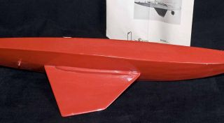 Vintage Dumas 22 1 2 Gee Gee Racing Sloop Red Wooden Model Boat Sail