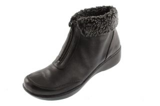 Easy Spirit New Defy Black Leather Faux Fur Fold Over Ankle Snow Boots