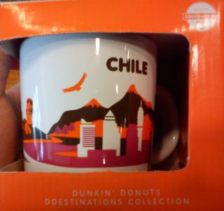 Dunkin Donuts Chile Destinations Coffee Mug 14oz Chile Mint New