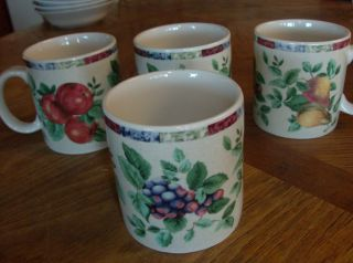 Oneida Sakura Sonoma Fruit Design Stoneware 4 Coffee Mugs