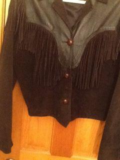 Ladies Black Fringed Leather Jacket Size L