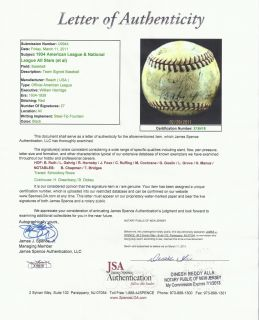 1934 All Star Team Signed Baseball 27 Sigs Babe Ruth, Foxx, Gehrig