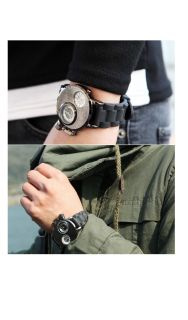FX Mens Dual Face Military Cyborg Watches Urethane Band Chic Mod Dandy