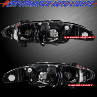 1997 1999 MITSUBISHI ECLIPSE HALO PROJECTOR HEADLIGHTS JDM BLACK