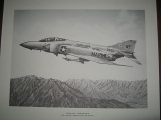 Douglas F 4 Phantom VMFA 232 Red Devils 16x20 RARE Aviation Art by R G