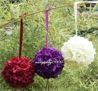 Silk Rose Flowers Balls Optional Colors Wedding Bows 6
