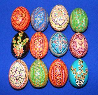 12 Wooden Ukrainian Pysanky Easter Painted Eggs
