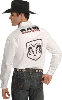 Wrangler Mens Dodge RAM Rodeo Logo Shirt XL Ed White