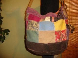 Lg Pachwork Canvas Leaher Lucky Brand Shoulder Bag Purse Crossbody