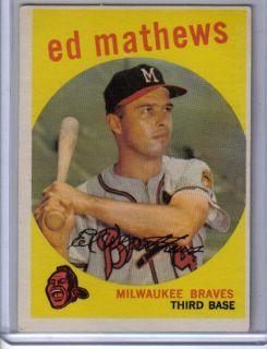 1959 Eddie Mathews Topps Card 450 Milwaukee Braves